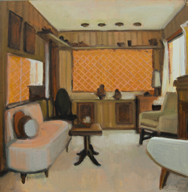 Gillian Willans Tea Time living room a o on canvas 12x12inches
