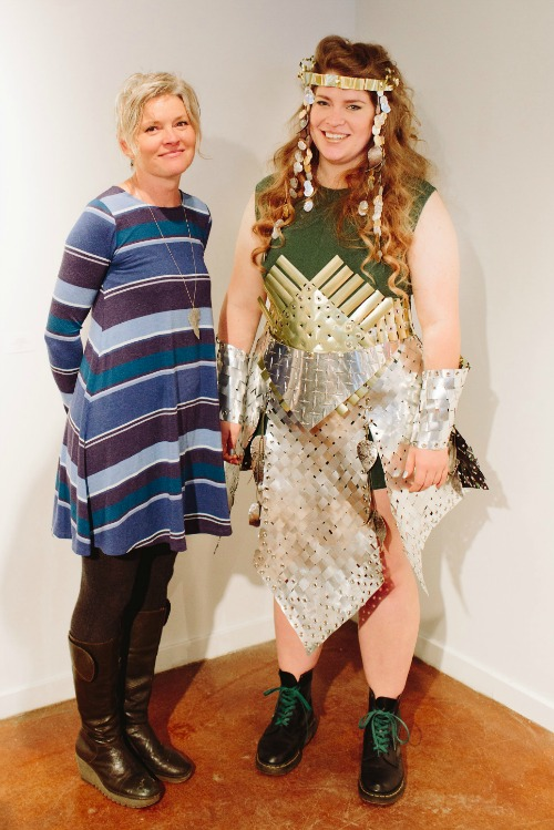 Jane Kline with her award-winning Skirt of Armour, modeled by Lore Green ('15 BFA). Photo by Mat Simpson.