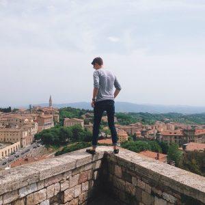 Alex Migdal Gazes Down At The Hillside Village Of Perugia. Photo Credit: Megan Stewart