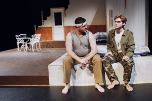 Students Braden Price (left) And Chris Pereira (right) Play The Two Soldiers Featured In Orestes 2.0.